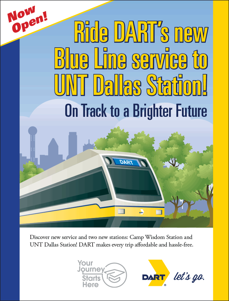 Ride DART's new Blue Line service to UNT Dallas Station!