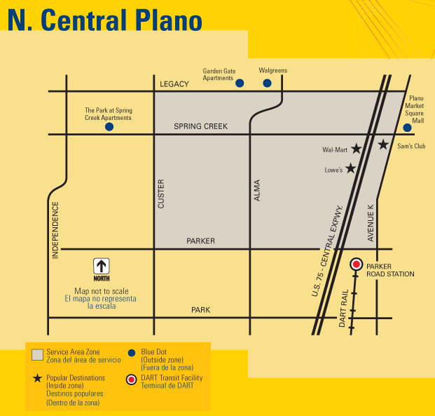 DART On-Call North Central Plano Map