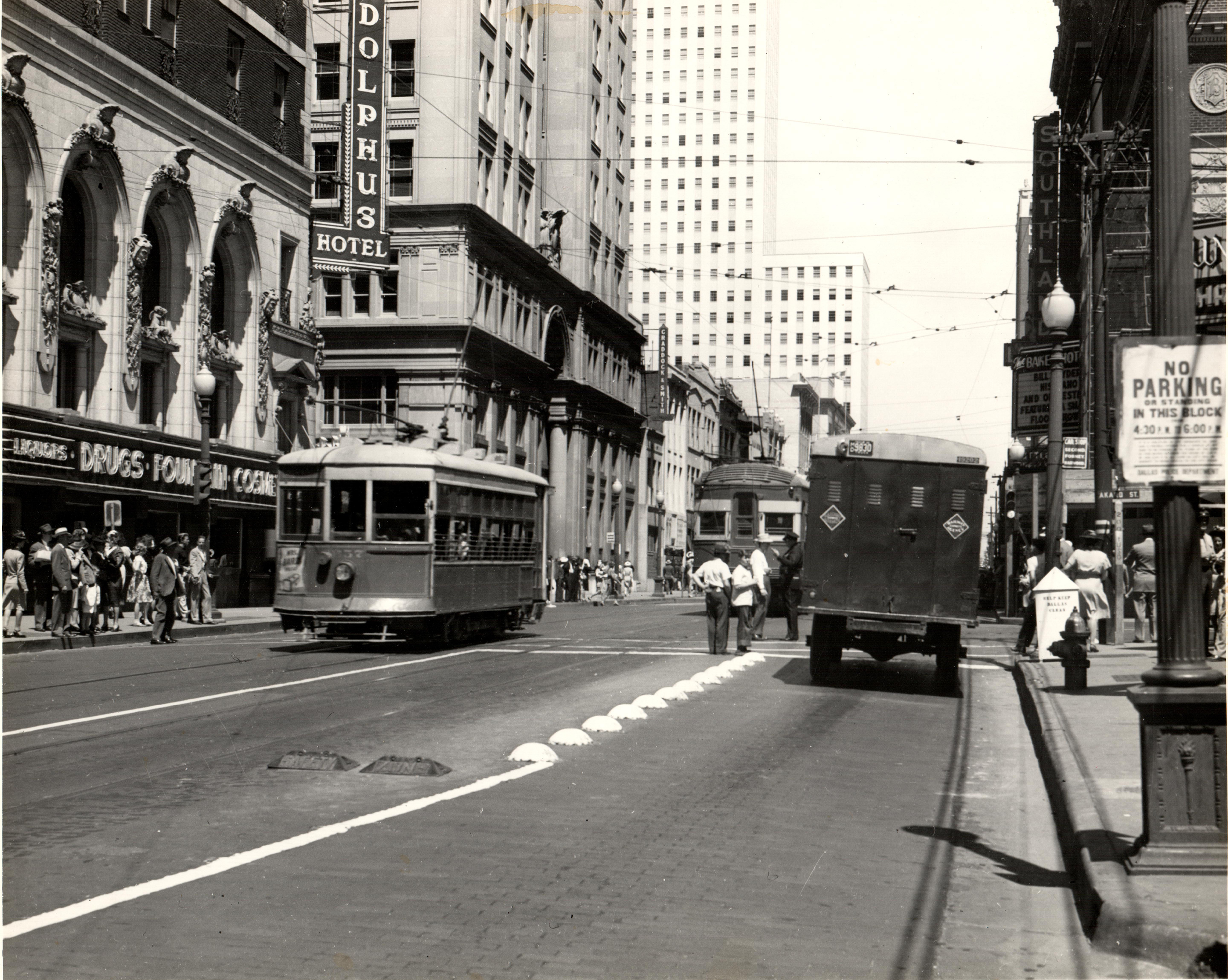 From the past, trolley cars on Commerce Street
