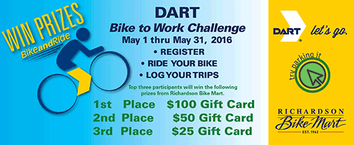 Click here to learn more about the DART Bike to Work Challenge