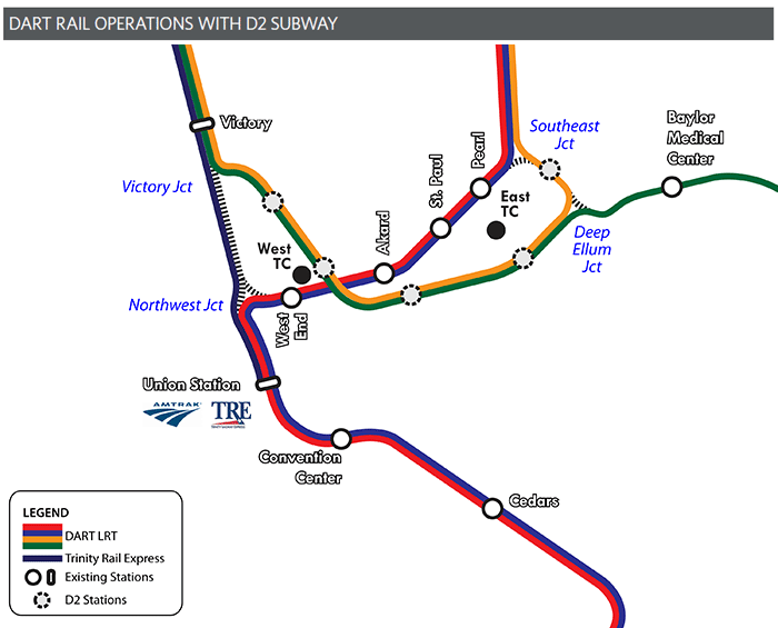 DART Rail Operations with D2 Subway