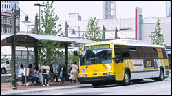 Image of a DART Bus in downtown Dallas