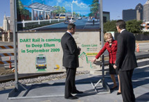 Image: DOT Secretary Mary Peters at Deep Ellum Station with DART President/Executive Director Gary Thomas (left) and DART Board Chairman Randall Chrisman