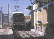 Image of DART Light Rail Train arriving in Garland