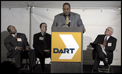 (Left to Right) John Wiley Price, Dallas County commissioner; Gary Thomas, DART president/executive director; Leo V. Chaney, Dallas City Council member; and Robert W. Pope, chairman, DART board of directors; participated in groundbreaking ceremonies on Friday, February 21, for the Martin Luther King, Jr. Blvd. Transit Center.
