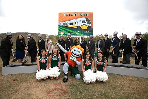DART and local dignitaries break ground for the Silver Line on the spot of the future University of Texas at Dallas Station in Richardson. (DART)