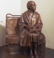 Image: A life-size bronze statue of Rosa Parks sitting on a bus bench will be a focal point of the plaza.