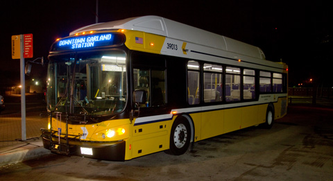 One of the new buses operating on Rapid Ride Route 987 at Downtown Garland Station
