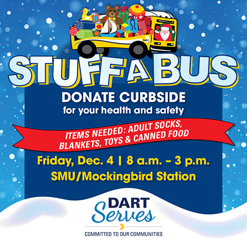 Stuff a Bus at SMU/Mockingbird Station on Friday, Dec. 4