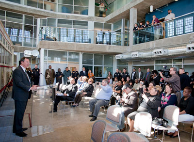 Gary Thomas, DART President/Executive Director, speaks at the DART Police Headquarters dedication in April 2011